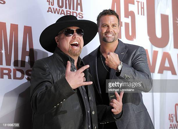 Eddie Montgomery and Troy Gentry of Montgomery Gentry attends the 45th annual CMA Awards at the Bridgestone Arena on November 9 2011 in Nashville...