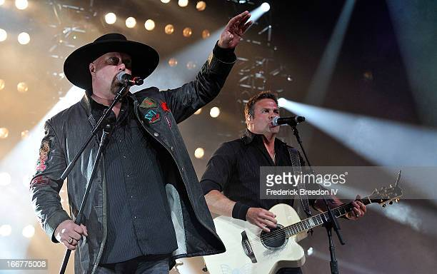 Eddie Montgomery and Troy Gentry of Montgomery Gentry perform during Keith Urban's Fourth annual We're All For The Hall benefit concert at...
