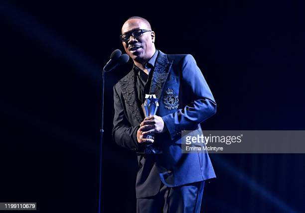 Eddie Murphy accepts the Lifetime Achievement Award onstage at the 25th Annual Critics' Choice Awards at Barker Hangar on January 12 2020 in Santa...