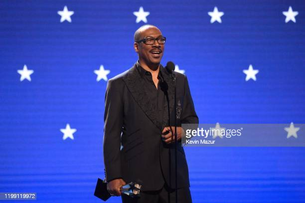 Eddie Murphy accepts the Lifetime Achievement Award onstage at the 25th Annual Critics' Choice Awards at Barker Hangar on January 12, 2020 in Santa...
