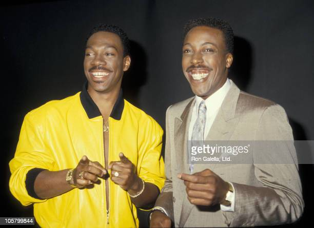 Eddie Murphy and Arsenio Hall during Eddie Murphy Visits The Arsenio Hall Show July 13 1987 at Fox TV Studios in Hollywood California United States