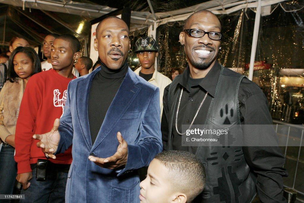 Eddie Murphy and Charlie Murphy during Los Angeles Premiere of DreamWorks Pictures' 'NORBIT' at The Village in Westwood, California, United States.