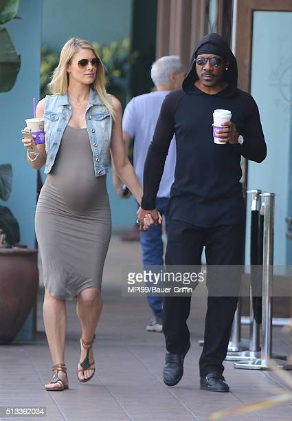 Eddie Murphy and girlfriend Paige Butcher taking a walk after getting coffee at The Coffee Bean Tea Leaf on March 02 2016 in Los Angeles California
