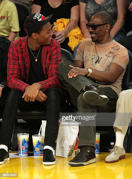 Eddie Murphy and his son attend the Los Angeles Lakers vs Utah Jazz at the Staples Center on April 19 2009 in Los Angeles California