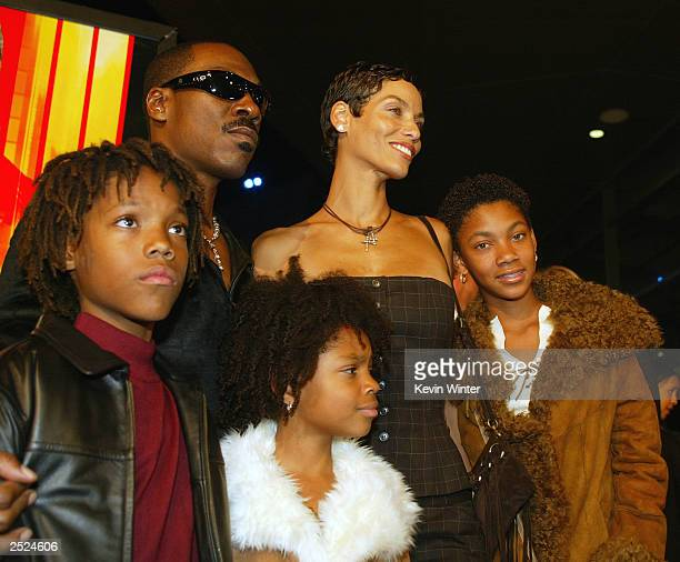 """Eddie Murphy and his wife Nicole with their children Miles, Shane and Brea at the premiere of """"I Spy"""" at the Cinerama Dome in Hollywood, Ca...."""