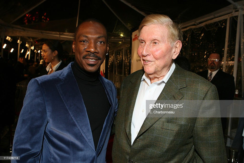 Eddie Murphy and Viacom's Sumner Redstone during Los Angeles Premiere of DreamWorks Pictures' 'NORBIT' at The Village in Westwood, California, United States.