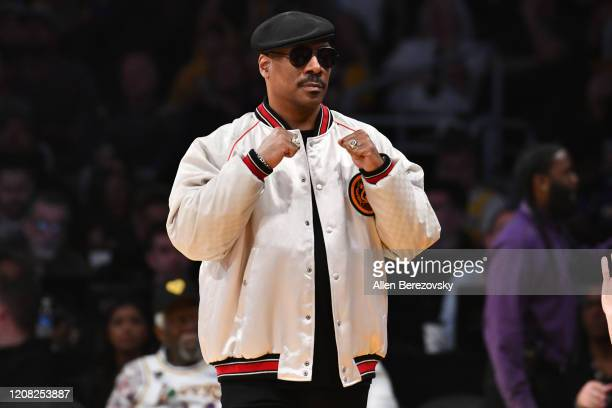 Eddie Murphy attends a basketball game between the Los Angeles Lakers and the Boston Celtics at Staples Center on February 23, 2020 in Los Angeles,...