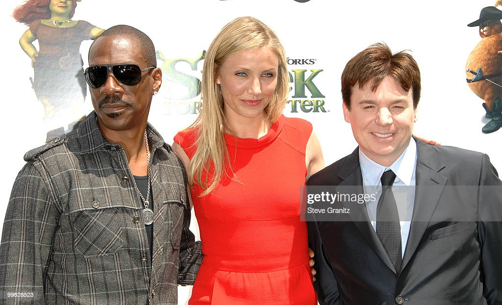 Eddie Murphy, Cameron Diaz and Mike Myers attends the 'Shrek Forever After' Los Angeles Premiere at Gibson Amphitheatre on May 16, 2010 in Universal City, California.