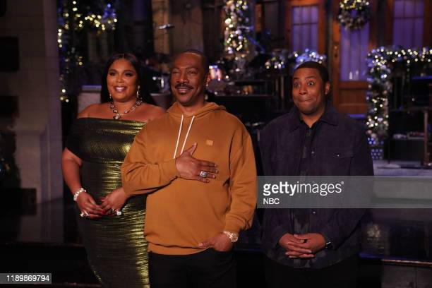 """Eddie Murphy"""" Episode 1777 -- Pictured: Musical guest Lizzo, host Eddie Murphy, and Kenan Thompson during Promos in Studio 8H on Thursday, December..."""