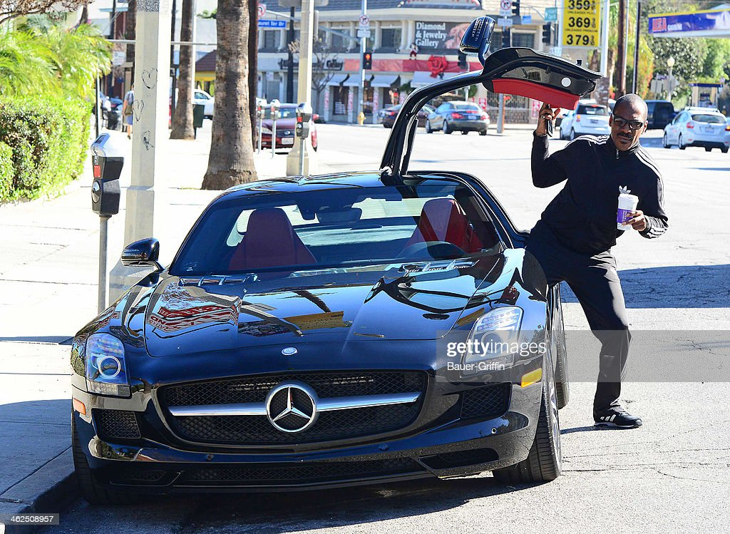 Eddie Murphy is seen getting into his Mercedes-Benz SLS AMG on January 13, 2014 in Los Angeles, California.
