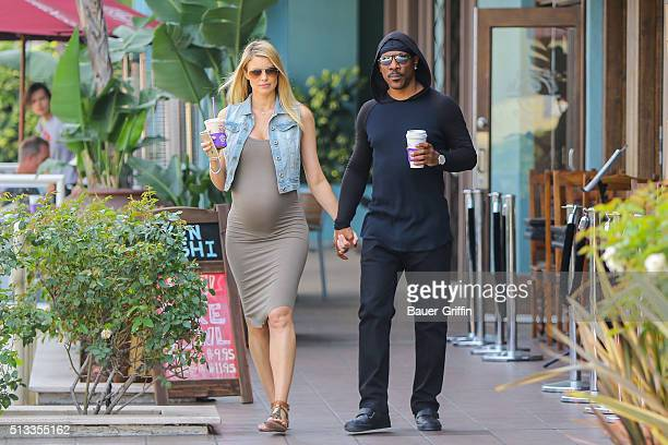 Eddie Murphy is seen leaving Coffee Bean with Paige Butcher on March 02 2016 in Los Angeles California