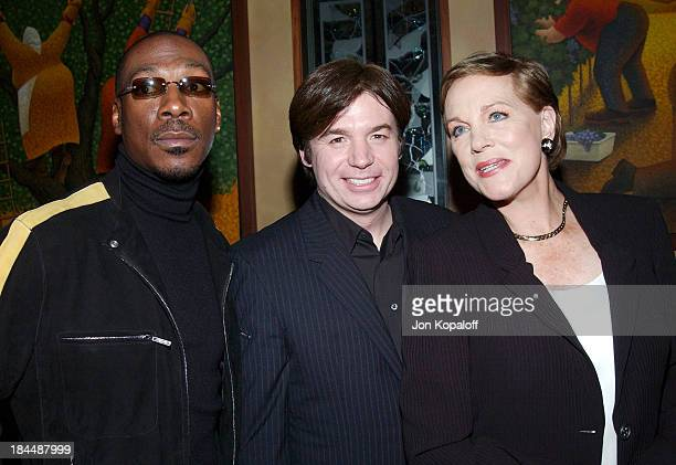 """Eddie Murphy, Mike Myers and Julie Andrews during DreamWorks Celebrates The DVD Release of """"Shrek 2"""" at Spago in Beverly Hills, California, United..."""