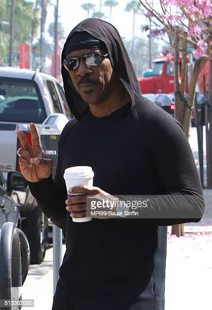Eddie Murphy seen taking a walk after getting coffee at The Coffee Bean Tea Leaf on March 02 2016 in Los Angeles California