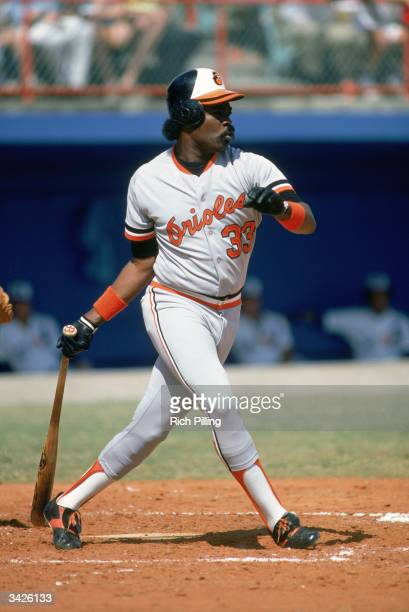 Eddie Murray of the Baltimore Orioles at bat during a 1985 season game