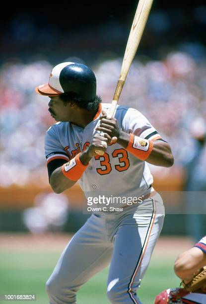 Eddie Murray of the Baltimore Orioles bats against the California Angels at the Big A circa 1986 in AnaheimCalifornia
