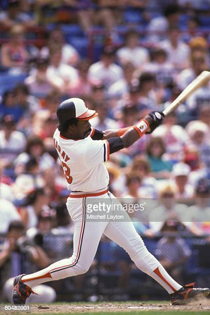 Eddie Murray of the Baltimore Orioles bats during a baseball game on May 8 1988 at Memorial Stadium in Baltimore Maryland