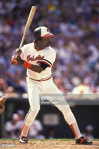 Eddie Murray of the Baltimore Orioles bats during a baseball game on July 1 1988 at Memorial Stadium in Baltimore Maryland
