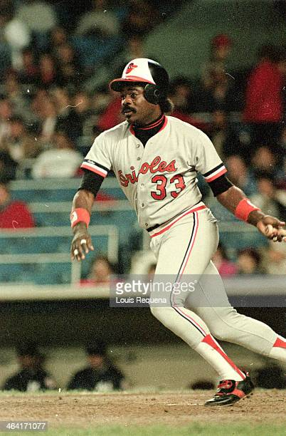 Eddie Murray of the Baltimore Orioles bats during a game against the New York Yankees at Yankee Stadium on an unspecified date in the Bronx borough...