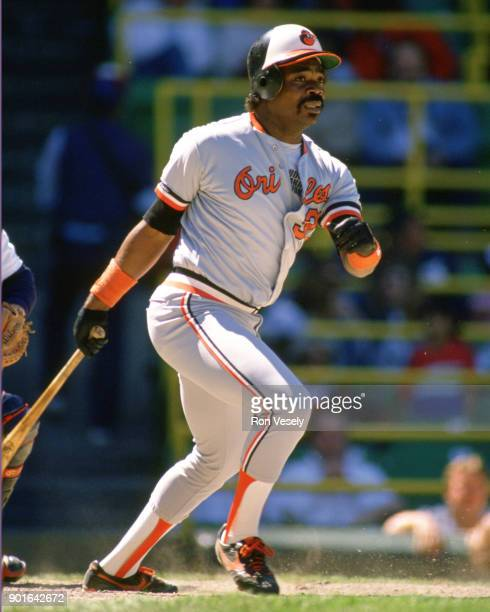 Eddie Murray of the Baltimore Orioles bats during an MLB game versus the Chicago White Sox at Comiskey Park in Chicago Illinois during the 1986 season