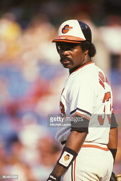 Eddie Murray of the Baltimore Orioles looks on during a baseball game on May 8 1988 at Memorial Stadium in Baltimore Maryland