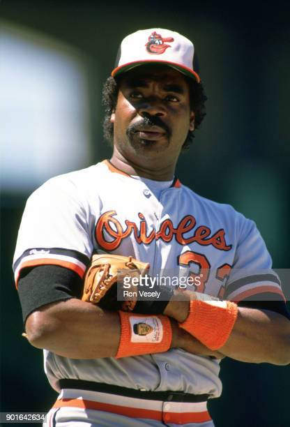 Eddie Murray of the Baltimore Orioles looks on during an MLB game versus the Chicago White Sox at Comiskey Park in Chicago Illinois during the 1986...