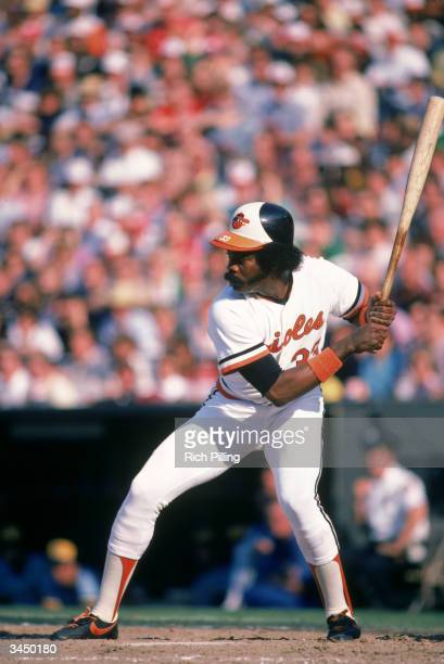 Eddie Murray of the Baltimore Orioles readies for the pitch during a 1982 season game at Memorial Stadium in Baltimore Maryland