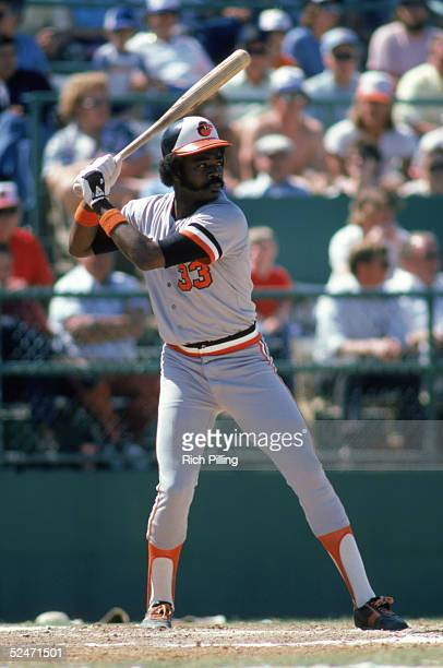 Eddie Murray of the Baltimore Orioles stands ready at bat during a 1981 season game