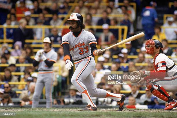 Eddie Murray of the Baltimore Orioles swings at a pitch during a 1983 season game against the Chicago White Sox at Comiskey Park in Chicago Illinois