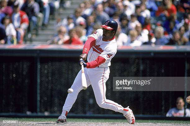 Eddie Murray of the Cleveland Indians swings at the pitch during a 1994 season game Eddie Murray played for the Cleveland Indians from 19941996