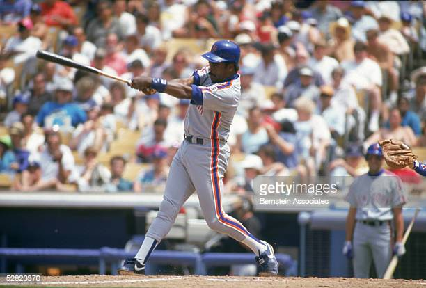 Eddie Murray of the New York Mets swings at a pitch against the Los Angeles Dodgers on May 17 1992 at Dodger Stadium in Los Angeles California
