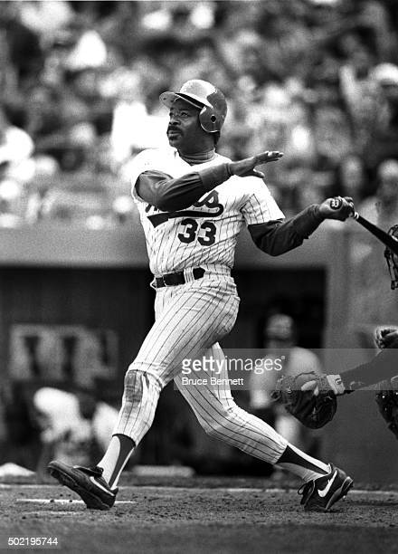 Eddie Murray of the New York Mets swings at the pitch during an MLB game circa 1993 at Shea Stadium in Flushing New York