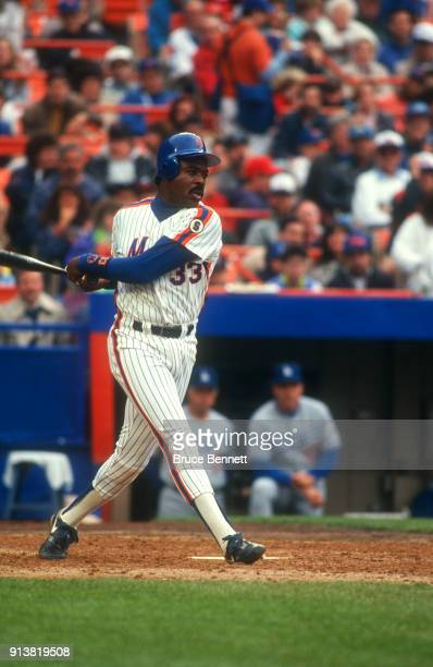 Eddie Murray of the New York Mets swings at the pitch during an MLB game against the Los Angeles Dodgers on May 10 1992 at Shea Stadium in Flushing...