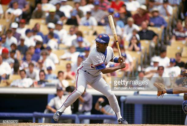 Eddie Murray of the New York Mets waits for the pitch against the Los Angeles Dodgers on July 24 1993 at Dodger Stadium in Los Angeles California