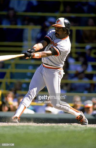 Eddie Murray swings at the pitch during a season game circa 1977 Eddie Murray played for the Baltimore Orioles from 19771988
