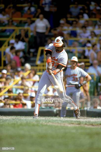 Eddie Murray swings at the pitch during a season game on January 4 1977 Eddie Murray played for the Baltimore Orioles from 19771988