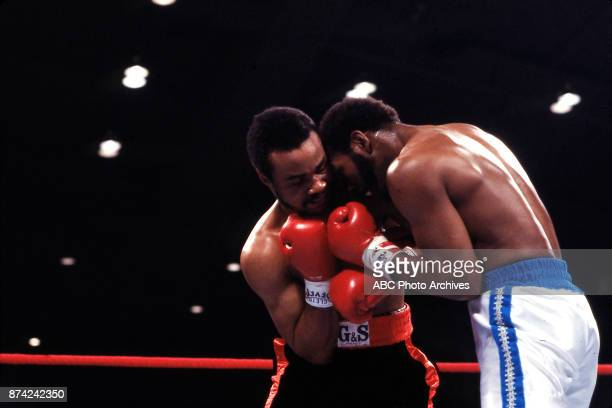 Eddie Mustafa Muhammad Marvin Johnson boxing at Stokley Athletics Center March 31 1980