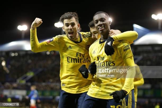 Eddie Nkethia of Arsenal is congratulated by teammate Dani Ceballos after he scores a goal to make it 20 during the FA Cup Fifth Round match between...