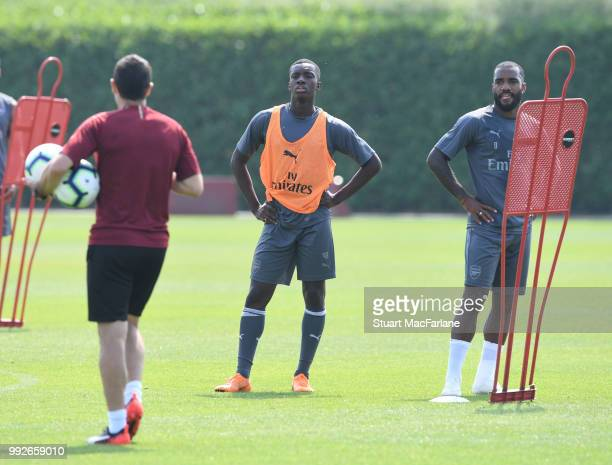 Eddie Nketiah and Alex Lacazette of Arsenal during a training session at London Colney on July 6 2018 in St Albans England