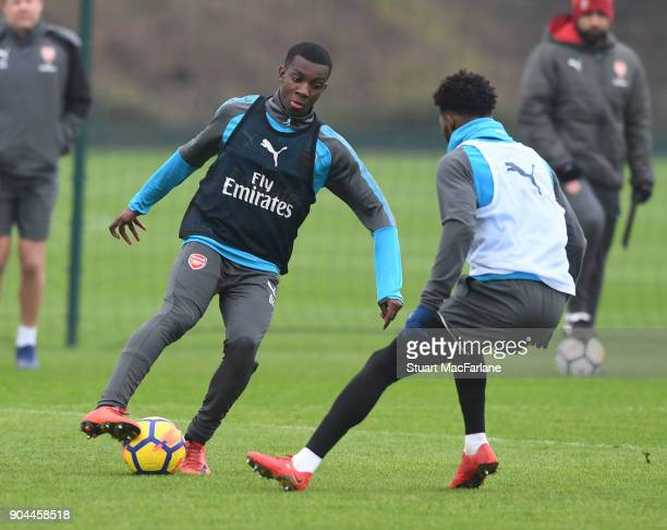 Eddie Nketiah and Anisley MaitlandNiles of Arsenal during a training session at London Colney on January 13 2018 in St Albans England