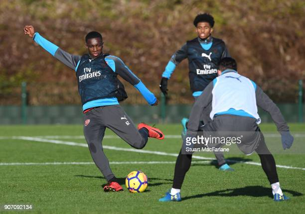 Eddie Nketiah and Granit Xhaka of Arsenal during a training session at London Colney on January 19 2018 in St Albans England