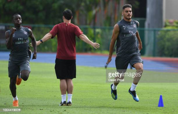 Eddie Nketiah and Konstantinos Mavropanos of Arsenal during Arsenal Training Session at Singapore American School on July 24 2018 in Singapore