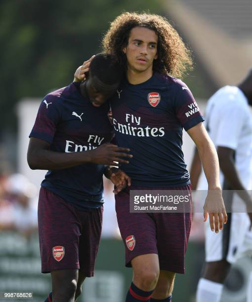Eddie Nketiah and Matteo Guendouzi of Arsenal during the preseason friendly between Boreham Wood and Arsenal at Meadow Park on July 14 2018 in...