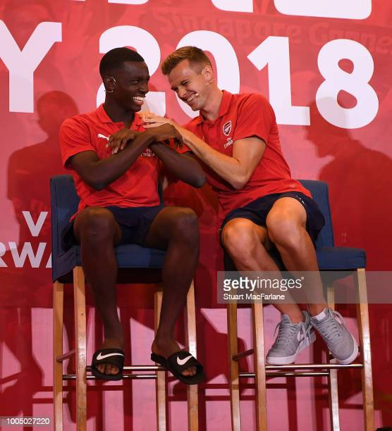 Eddie Nketiah and Rob Holding of Arsenal attend a fan party at the Shangri-La hotel on July 25, 2018 in Singapore.