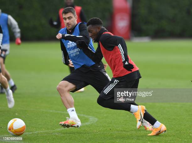 Eddie Nketiah and Sokratis of Arsenal during the Arsenal training session ahead of the UEFA Europa League Group B stage match between Arsenal FC and...