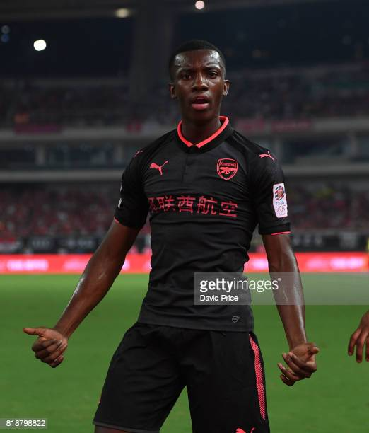 Eddie Nketiah celebrates Arsenal's goal during the match between Bayern Munichand Arsenal at Shanghai Stadium on July 19 2017 in Shanghai China