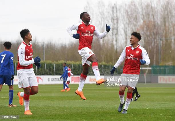 Eddie Nketiah celebrates scoring Arsenal's 1st goal during the match between Arsenal U23 and Chelsea U23 at London Colney on March 17 2018 in St...