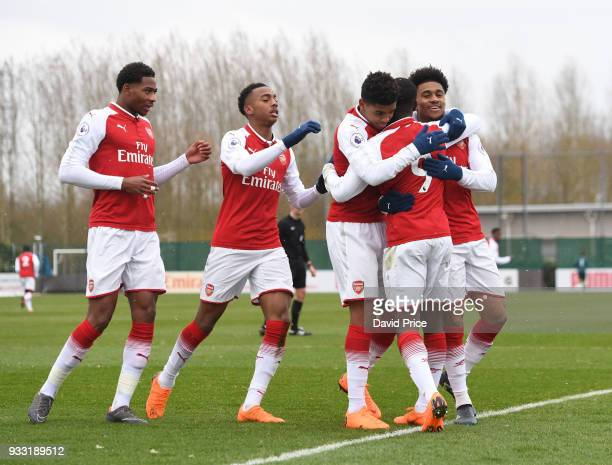 Eddie Nketiah celebrates scoring Arsenal's 1st goal with his team mates during the match between Arsenal U23 and Chelsea U23 at London Colney on...