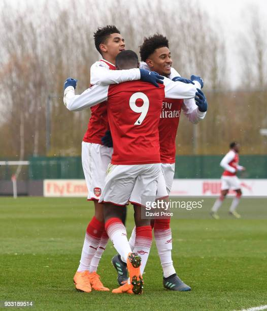 Eddie Nketiah celebrates scoring Arsenal's 1st goal with Tyreece JohnJules and Riess Nelson during the match between Arsenal U23 and Chelsea U23 at...