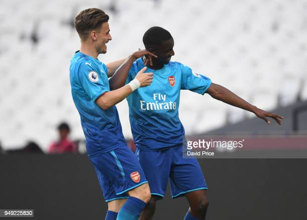 Eddie Nketiah celebrates scoring Arsenal's 2nd goal with Vlad Dragomir during the match between West Ham United and Arsenal at London Stadium on...