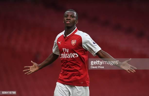 Eddie Nketiah celebrates scoring Arsenal's 3rd goal his 2nd during the match between Arsenal U23 and Manchester City U23 at Emirates Stadium on...